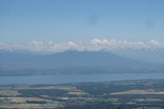 Pogled na bel špic, to je Mont Blanc. Ja tisti v oblakih